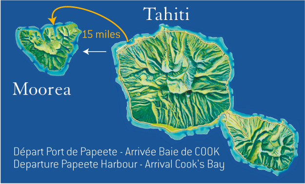 Map from Tahiti to Moorea
